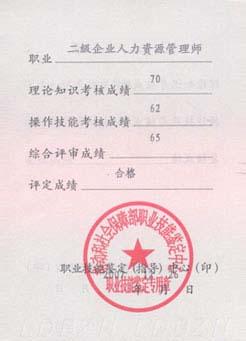 成都二级人力资源管理师培训―证书展示―二级人力资源管理师证书封6